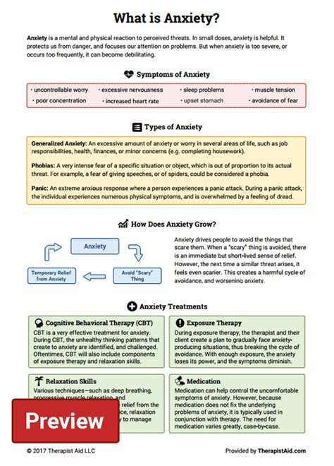 anxiety worksheet therapist aid