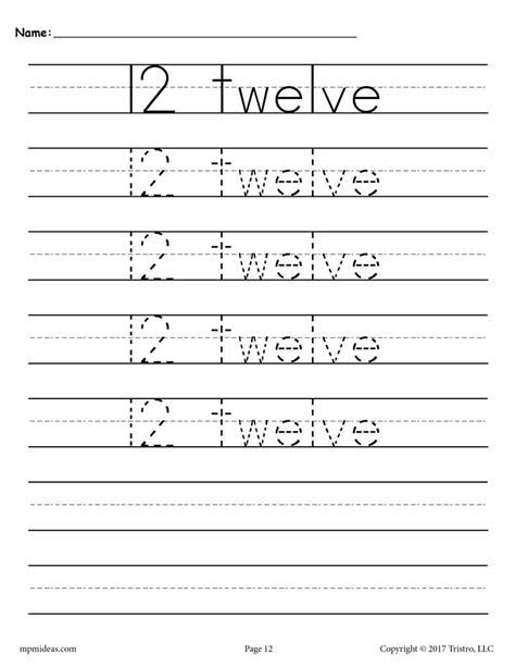 number 12 tracing worksheet number twelve handwriting worksheet
