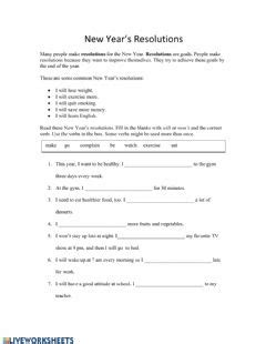 year resolutions interactive worksheet