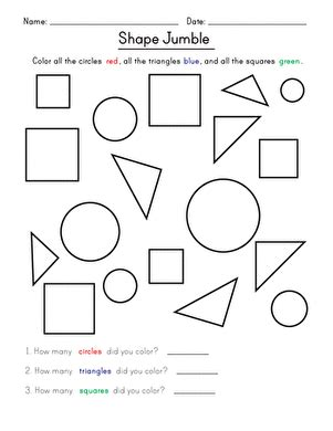 shape jumble worksheet education