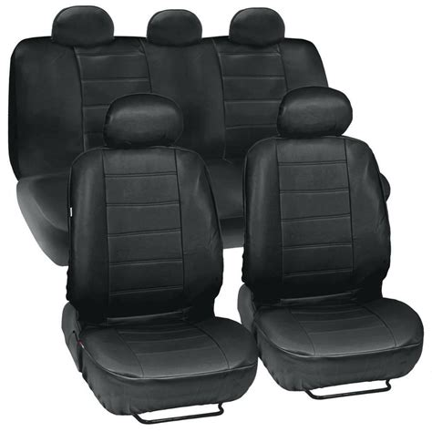 black leatherette car seat covers front rear full
