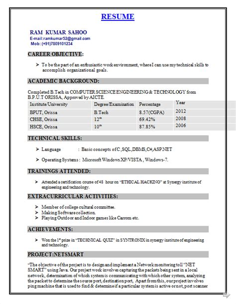 tech resume format freshers resume format engineering resume