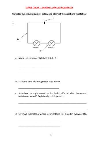series parallel circuit worksheet answers teaching resources