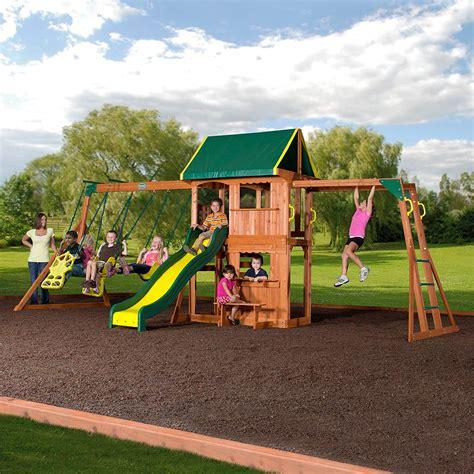 outdoor cedar wooden swing set kids play center