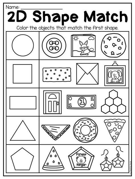 kindergarten 2d 3d shapes worksheets distance learning shapes