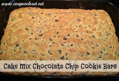 chocolate chip cake mix cookie bars recipe