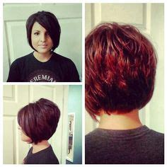 choppy stacked inverted bob haircut side view hair