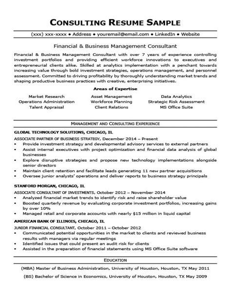consulting resume sle writing tips resume companion