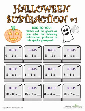 halloween subtraction worksheet education