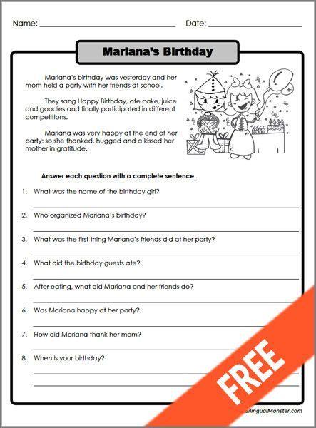 printable reading comprehension worksheets 3rd grade 2 lugares