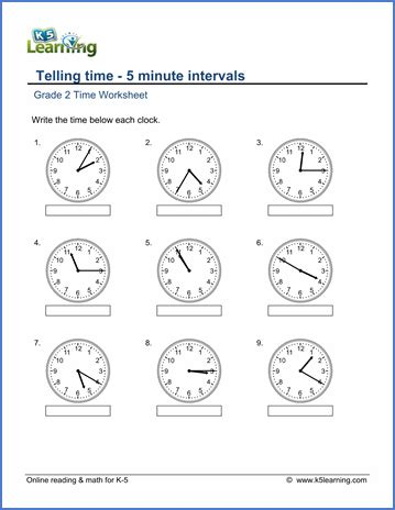 grade 2 telling time worksheets free printable k5