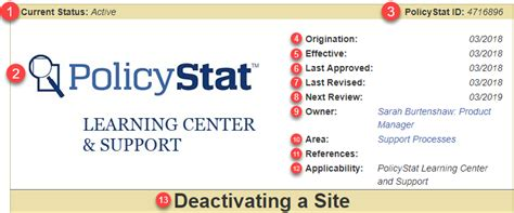 sections policy header policystat learning center