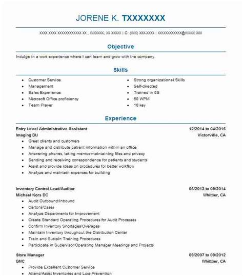 entry level administrative assistant resume sle livecareer