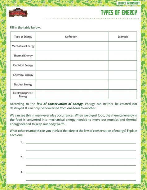 types energy view printable sixth grade science worksheet