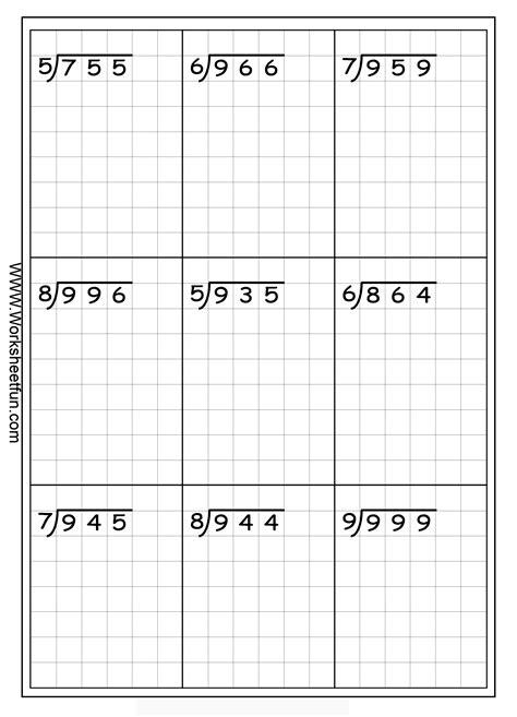 long division free worksheets math division 4th grade