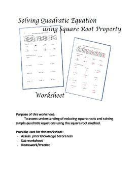 solving quadratic equations square root method worksheet pinterest