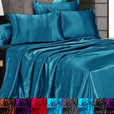 3 pc satin silky sheet set queen king