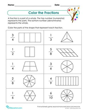 2nd grade fractions worksheets free printables education