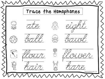 2 cursive trace homophones worksheets kdg 2nd grade