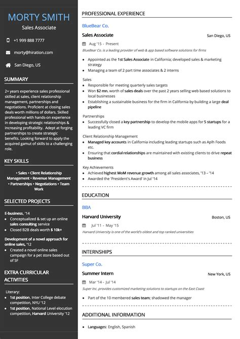 resume template professional black hiration