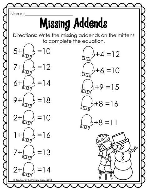 winter math literacy printables prep grade math math