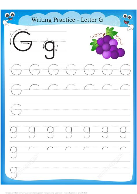 letter grape handwriting practice worksheet free printable puzzle
