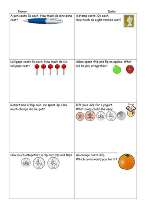 differentiated money word problems worksheets ruthbentham teaching resources
