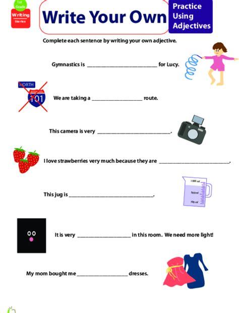 identify adjectives worksheet education