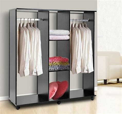 double mobile open wardrobe bedroom storage shelves clothes