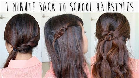 1 minute school hairstyles medium long hair tutorial