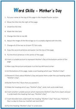 microsoft word exercise worksheet mother day word skills