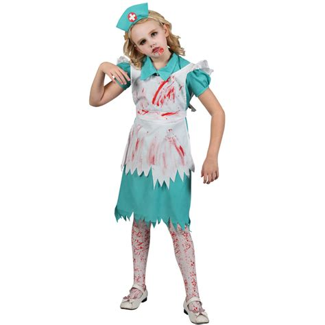 zombie nurse girls halloween fancy dress child kids