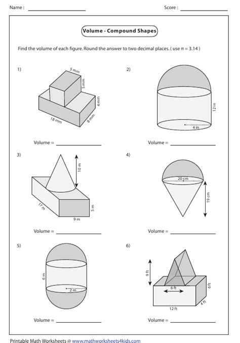 volume compound shapes worksheet answers download printable templateroller