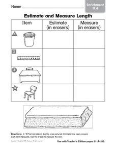 estimate measure length enrichment graphic organizer 1st 2nd