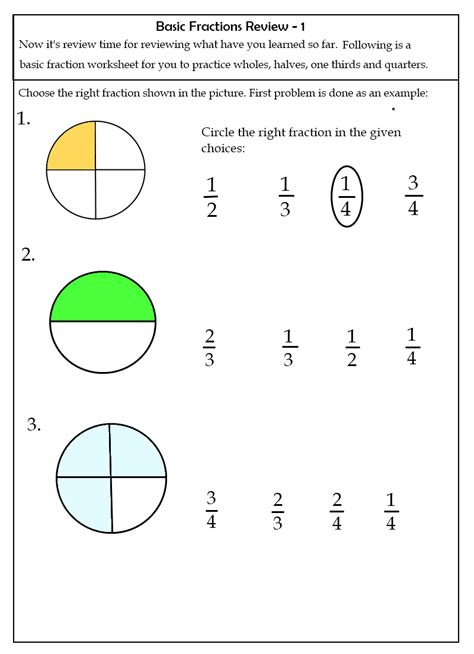 kids learning curriculum fractions worksheet