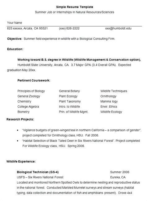 msc zoology 3 resume format job resume template