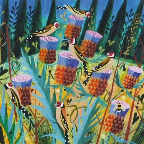 mary sumner goldfinches thistles art card графика