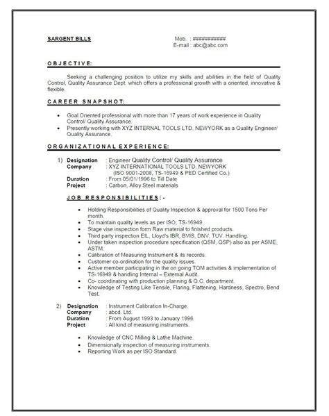 resume format mechanical engineer 1 year experience job