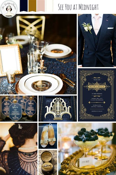 years eve wedding ideas midnight blue gold chic