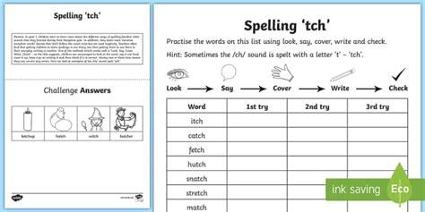 year 1 spelling practice ch sound spelt tch