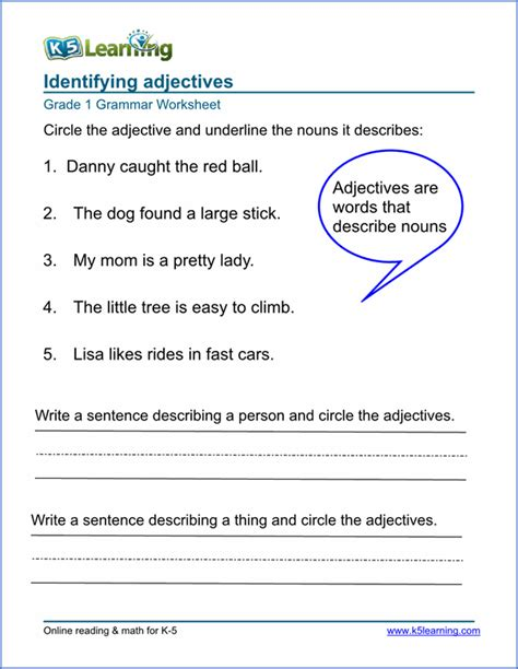 adjective worksheets elementary school printable free k5 learning