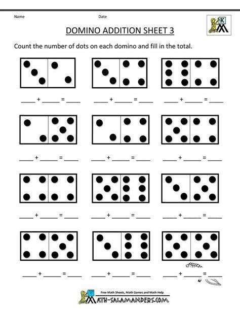 printable kindergarten math worksheets domino addition 3 preschool