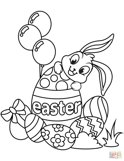 cute easter bunny eggs coloring page free printable