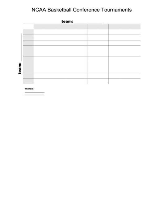 100 square ncaa basketball conference tournament bracket template