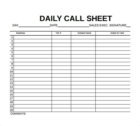 free 10 sle call sheet templates ms word