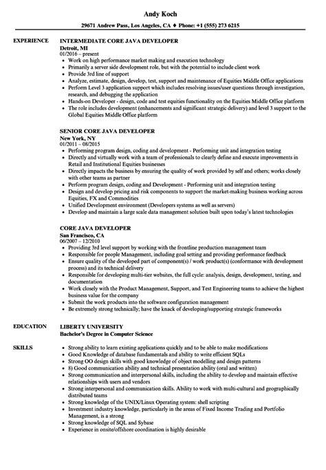 core java developer resume sles velvet jobs