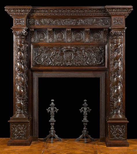 tall antique italian renaissance oak fireplace mantel