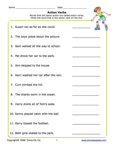 school express action verbs worksheet education world
