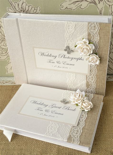 luxury personalised wedding guest book album set lace