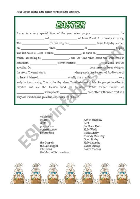 easter cloze text elementary esl worksheet intra